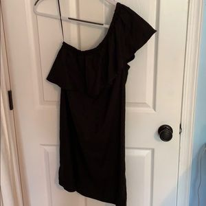 7 For All Mankind Black One Shoulder Ruffle Dress